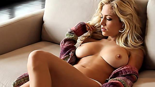Sweater and panties on blonde tease