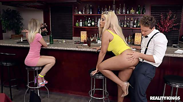 Daring blonde darling Bridgette B.'s hardcore boning in a bar