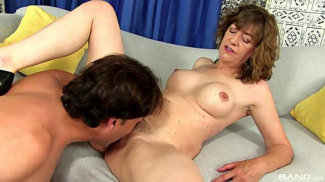 Auntie loves to fuck and feel sperm on her hairy clit