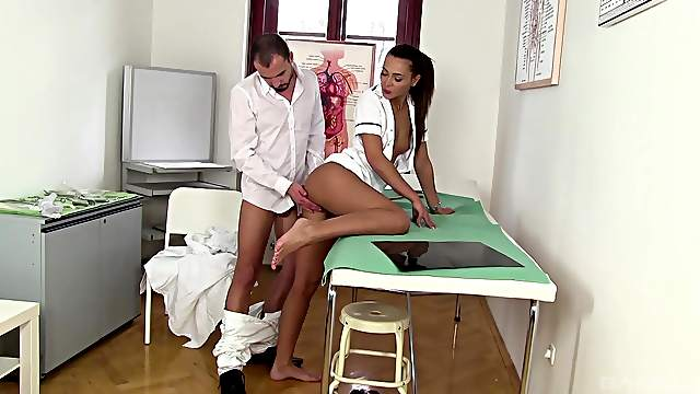 Hot nurse falls victim to the doctor's merciless cock