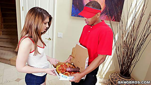 Pizza delivery guy gives teen Joseline Kelly an extra serving of meat