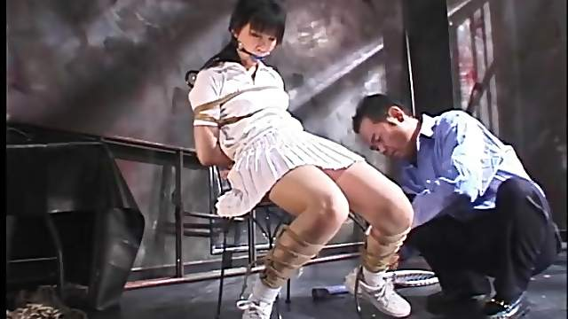 Japanese tennis girl tied up in dungeon
