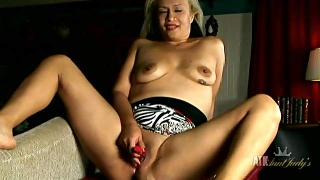 Cute solo blonde mom and her vibrator playing